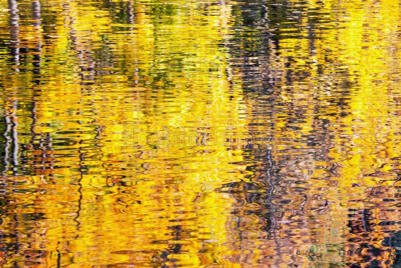 Złoty jesieni wody odbicia tło zdjęcia stock