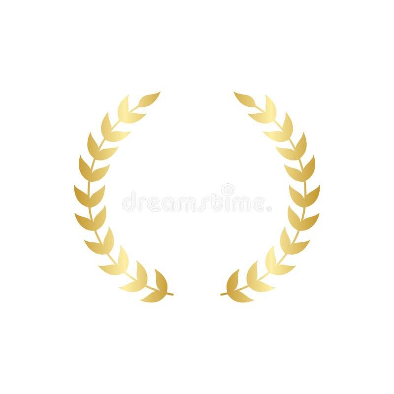 Złoty kółkowy bobka lub oliwki wianku grecki wektor odizolowywający na białym tle ilustracji