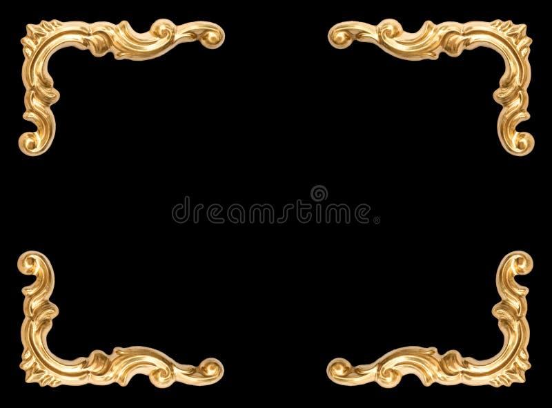 Złoty kąt ramy czerni tło obraz royalty free