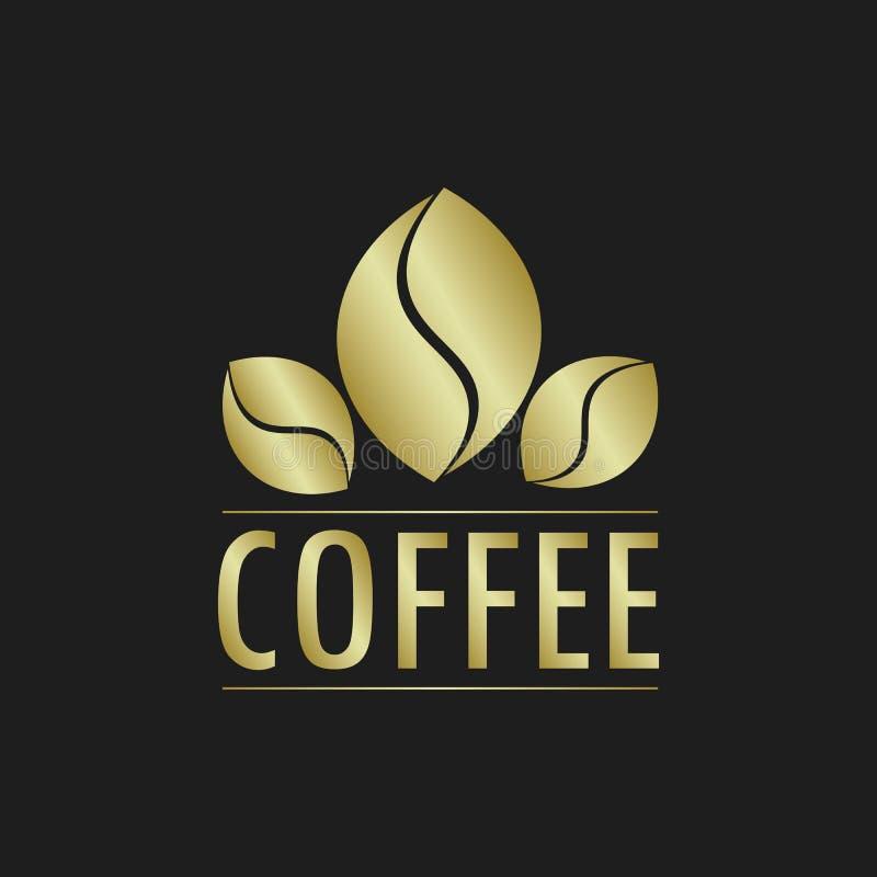 Złoty Kawowy logo ilustracja wektor