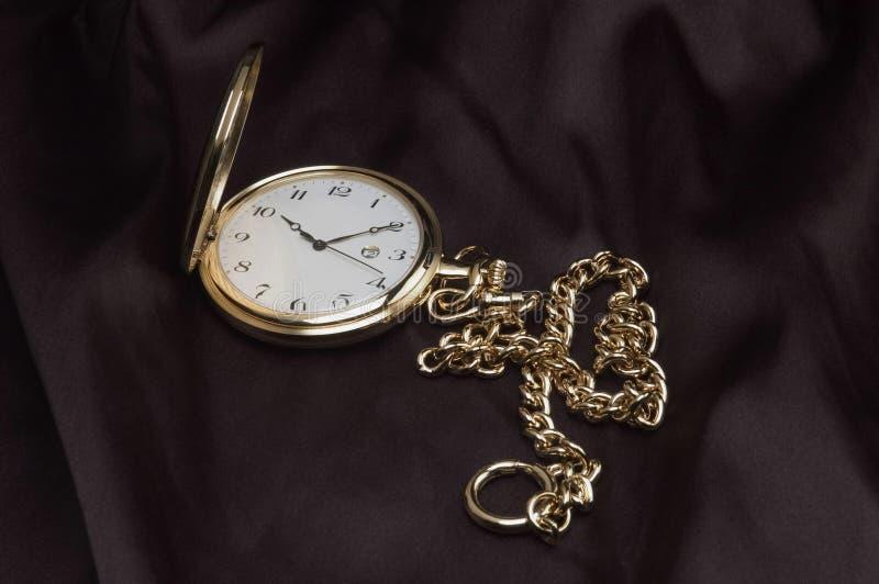 złoty kieszeniowy zegarek obraz stock