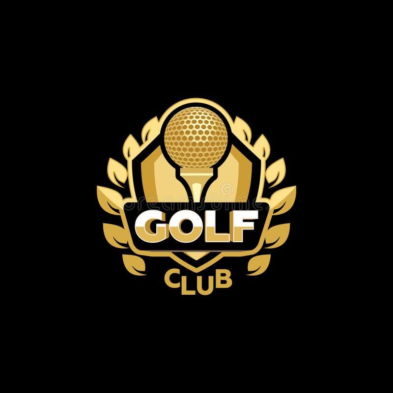 Złoty kij golfowy ilustracji