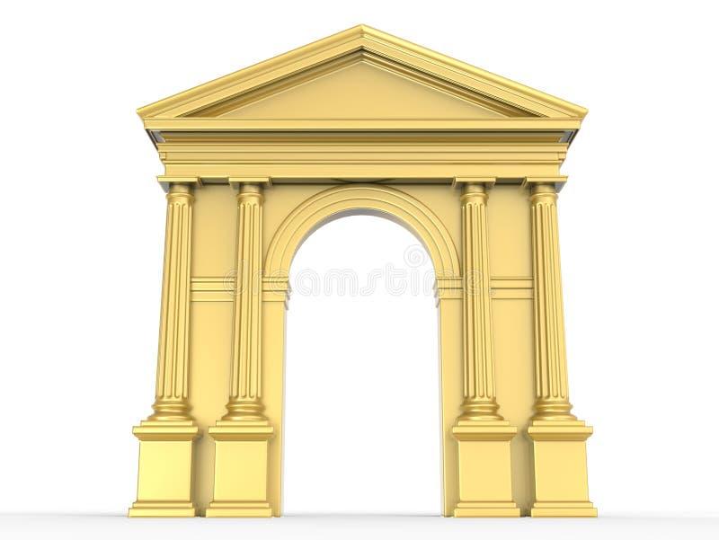 Złoty klasyka łuk, arkada z Korynckimi kolumnami, Doric lizeny odizolowywać na bielu ilustracji