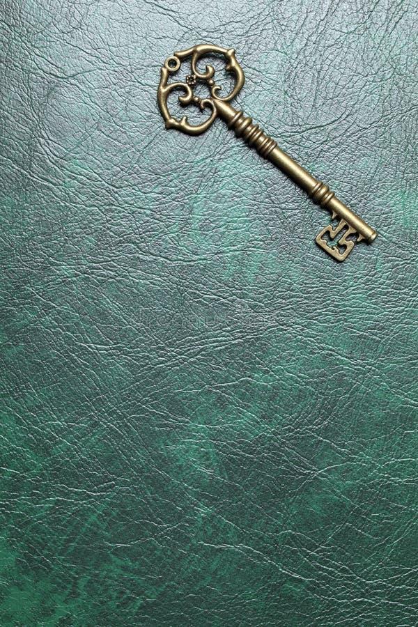 Złoty klucz na skórze obraz stock
