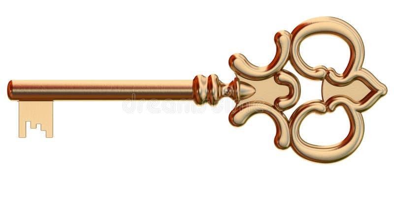 Złoty klucz odizolowywający ilustracja wektor