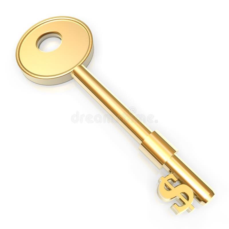złoty klucz pieniądze ilustracja wektor