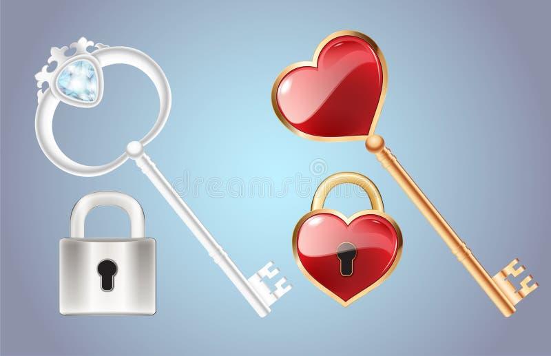 Złoty klucz z diamentowym i złoto zamykaliśmy kędziorka Drzwiowego kędziorek z czerwonym kierowym wektorem ilustracja wektor