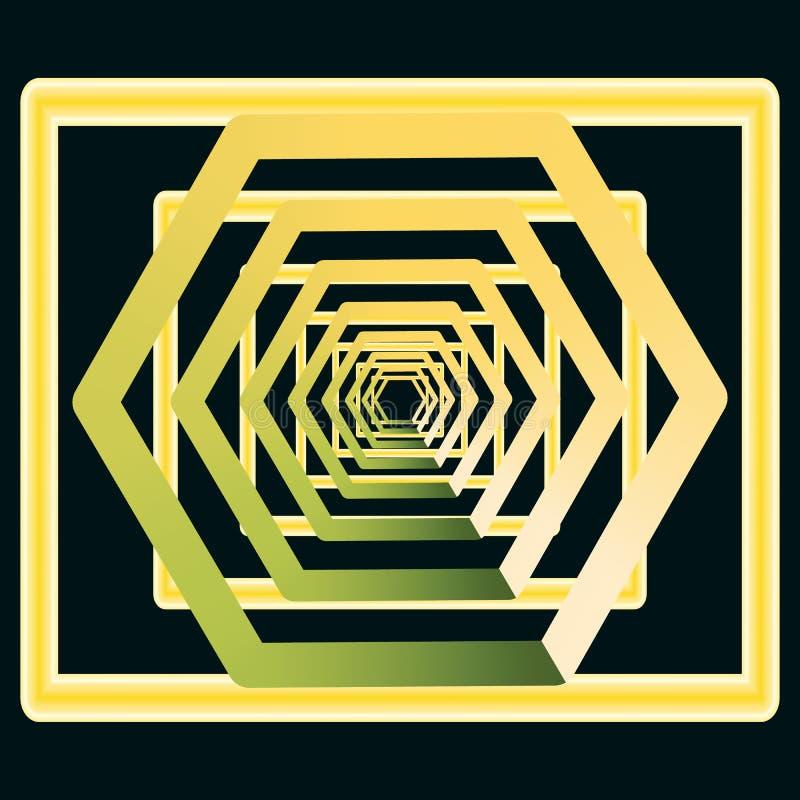 Złoty, kolor żółty z zielonawy cofać się w nieskończoność, ilustracji