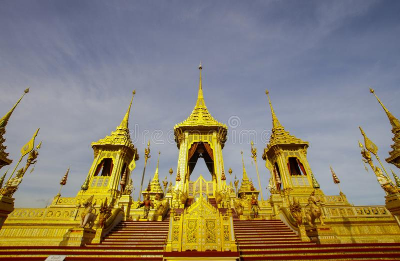 Złoty Królewski Crematorium królewiątko Bhumibol wielki, Bangkok, listopad 2017 obrazy stock