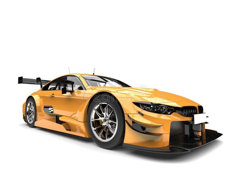 Złoty kruszcowy nowożytny super samochód wyścigowy ilustracji