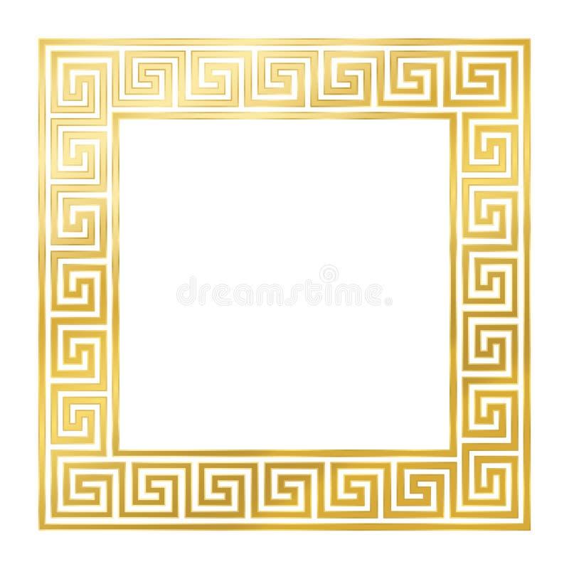 Z?oty kwadrat Z Bezszwowym meanderu projektem royalty ilustracja