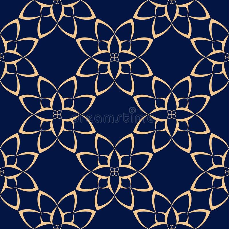 Złoty kwiecisty element na zmroku - błękitny tło bezszwowy wzoru ilustracja wektor