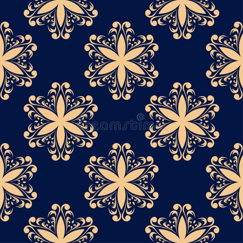 Złoty kwiecisty element na zmroku - błękitny tło bezszwowy wzoru royalty ilustracja