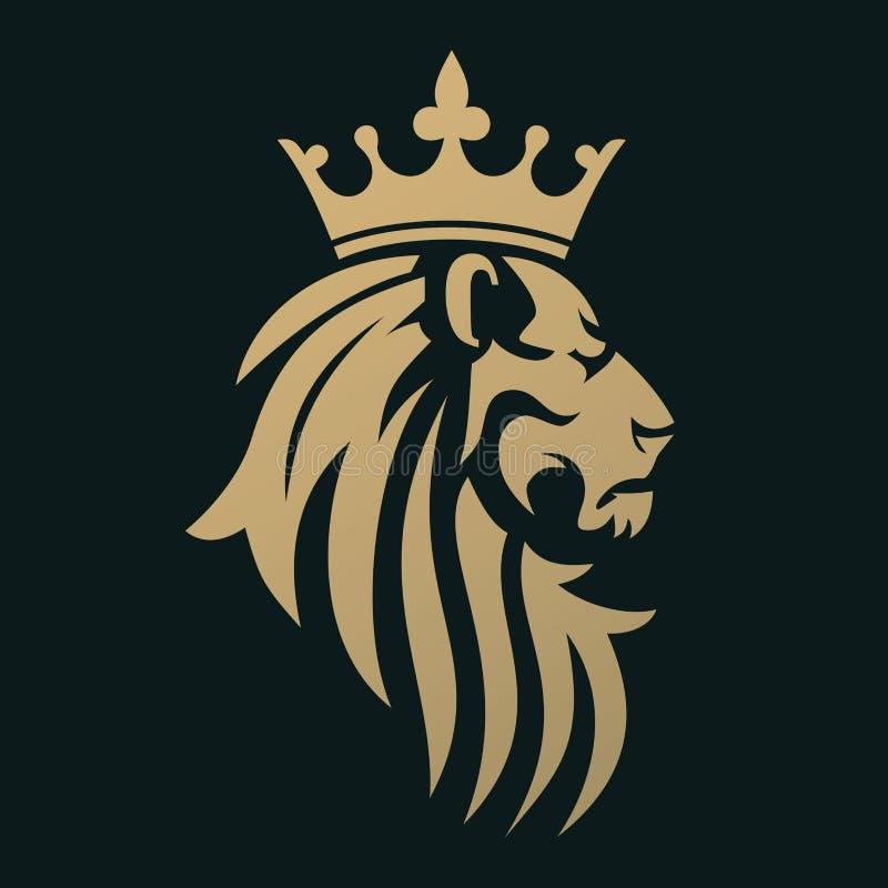 Złoty lew z koroną ilustracja wektor
