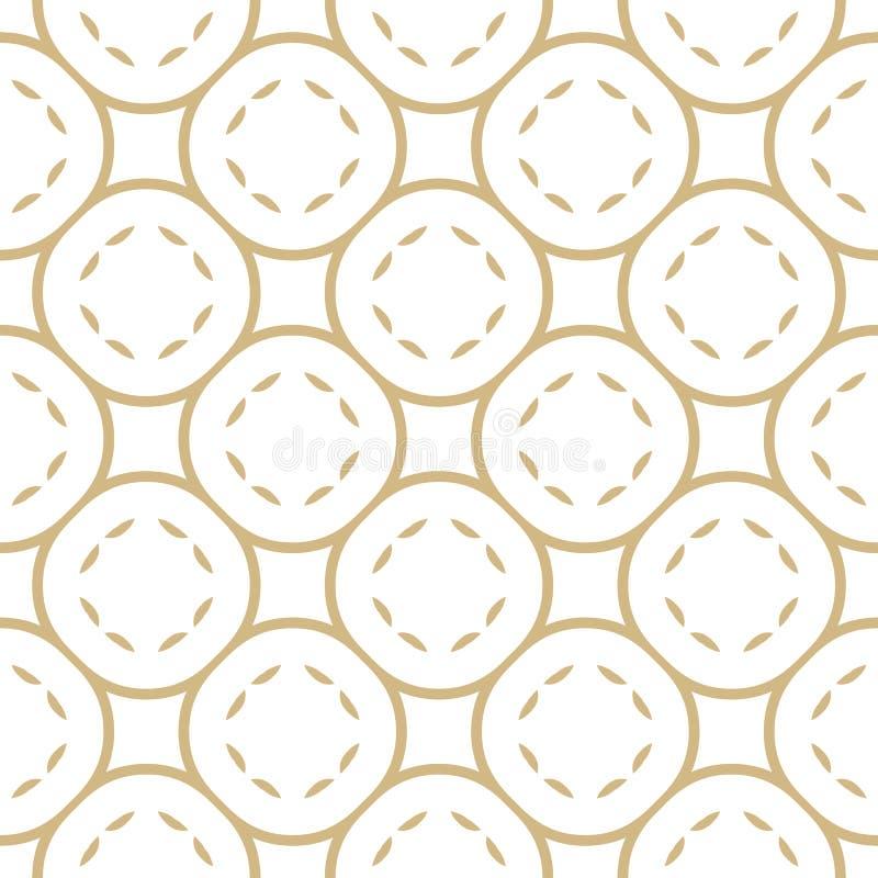 Złoty liniowy geometryczny wektorowy bezszwowy wzór z zaokrągloną siatką, okręgi royalty ilustracja