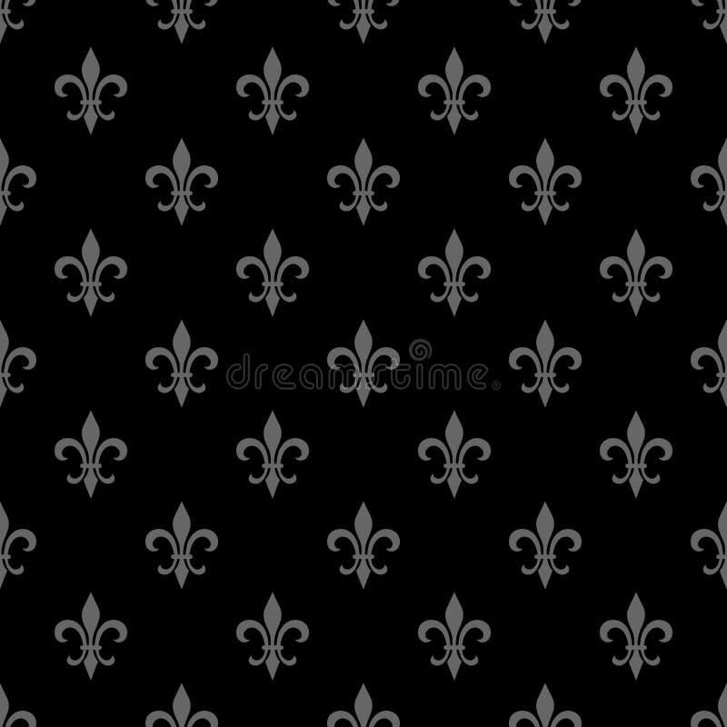Złoty lis bezszwowy wzór Czarny biały szablon Kwiecista klasyczna tekstura Elegancka dekoracja, królewskiej lelui retro backgroun royalty ilustracja