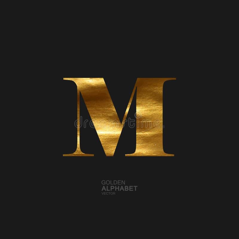 Złoty list M ilustracja wektor