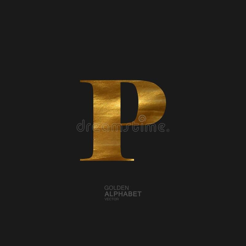 Złoty list P royalty ilustracja