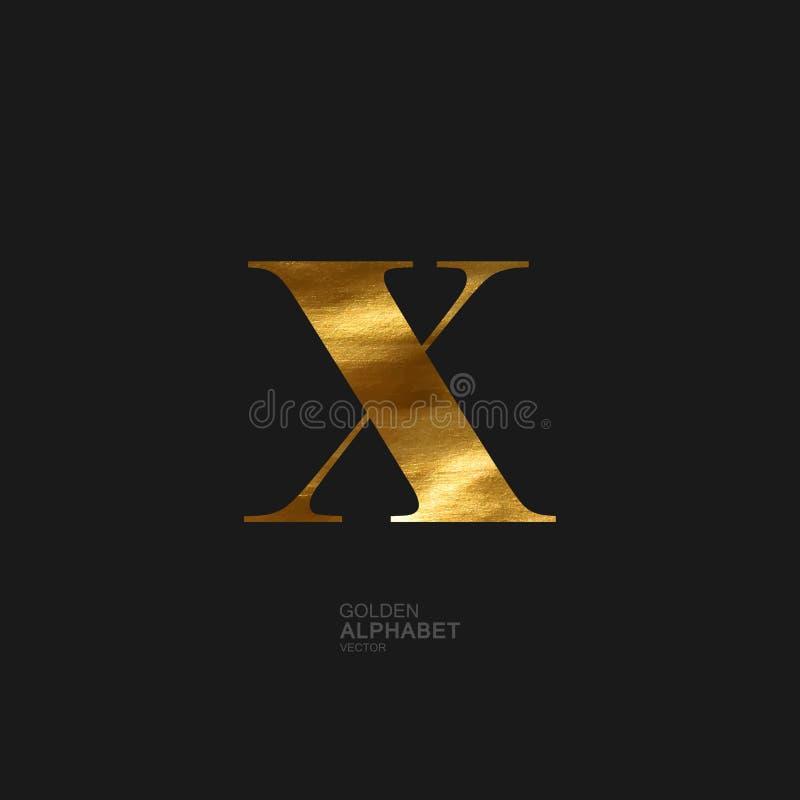 Złoty list X ilustracja wektor