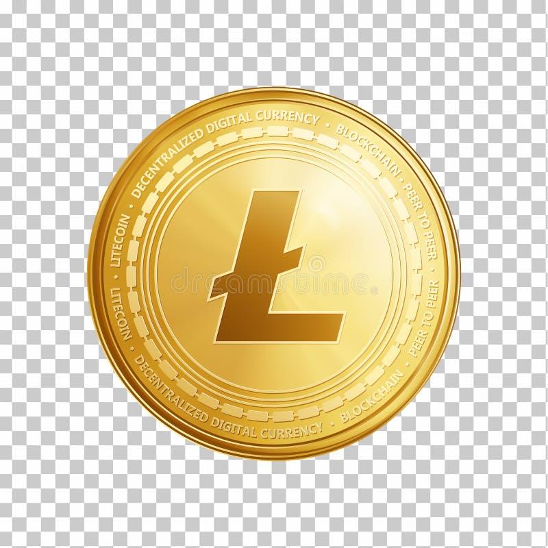 Złoty Litecoin blockchain monety symbol royalty ilustracja