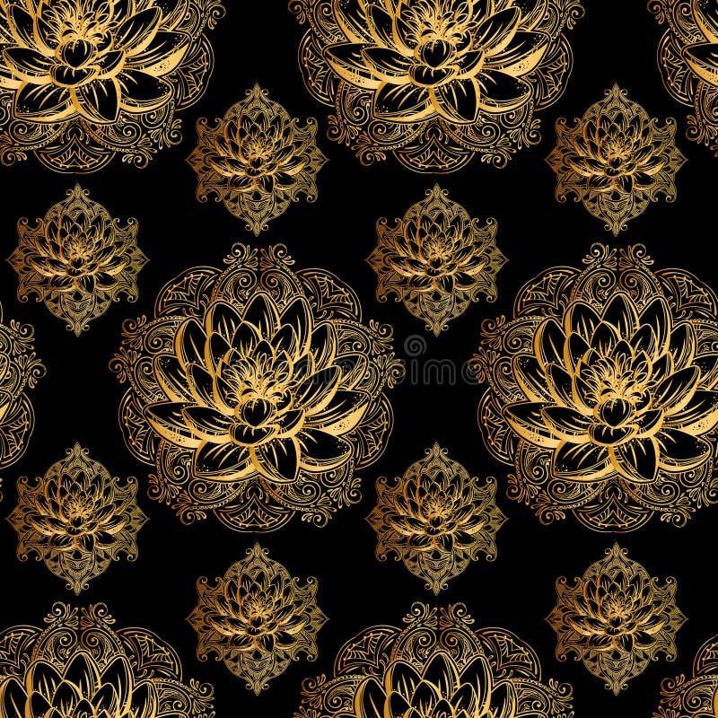 Złoty lotosu wzór ilustracji