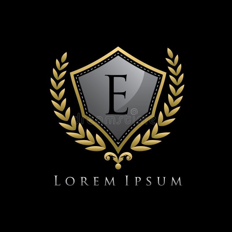 Złoty Luksusowy osłony E listu logo ilustracja wektor