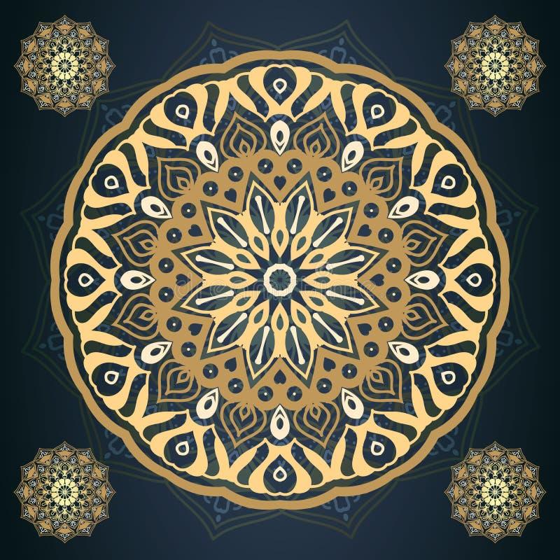 Złoty mandala wzór w zmroku - błękitny tło wektoru illustrati ilustracji