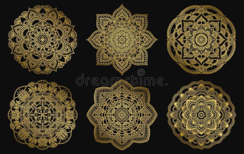 Z?oty mandalas projekt Etnicznego round gradientowy ornament R?ka rysuj?cy indyjski motyw Mehendi medytacji joga henny temat royalty ilustracja