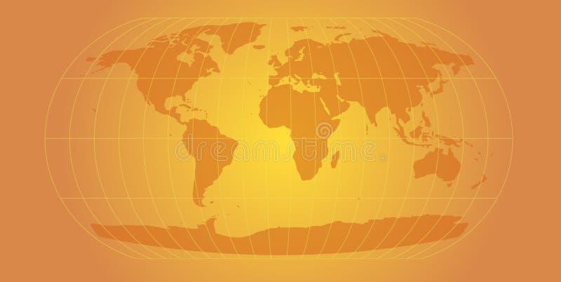 złoty mapa świata ilustracji