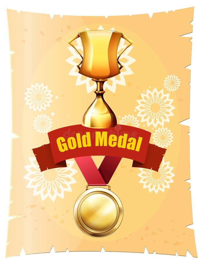 Złoty medal i trofeum na plakacie ilustracji