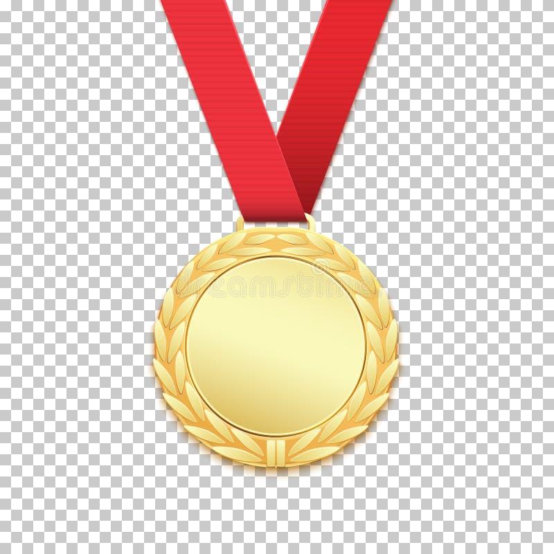 Złoty medal odizolowywający na przejrzystym tle ilustracja wektor