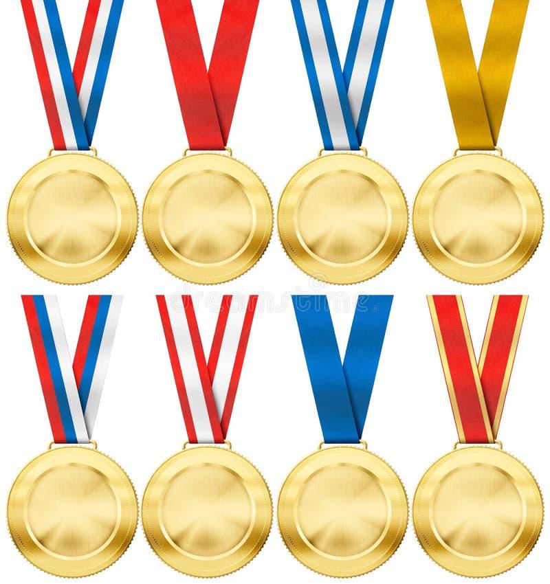 Złoty medal ustawiający z różnorodnym faborkiem odizolowywającym obrazy royalty free