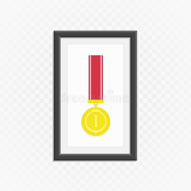 Złoty medal w ramie ilustracji