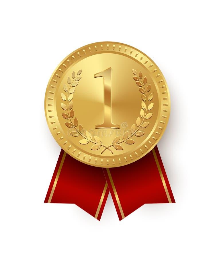 Złoty medal z czerwonymi faborkami odizolowywającymi na białym tle spokojnie redaguje projekt elementów wektora ilustracja wektor