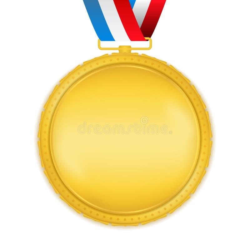 Złoty medal z faborkiem ilustracja wektor