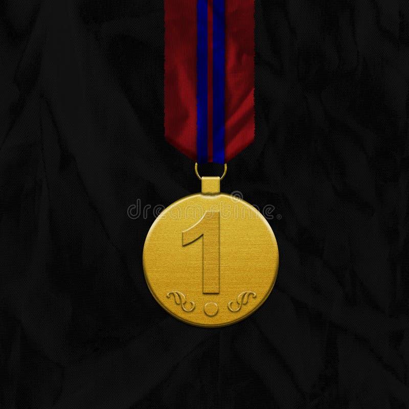 Złoty Medal z faborkiem najpierw umieszcza ilustracja wektor
