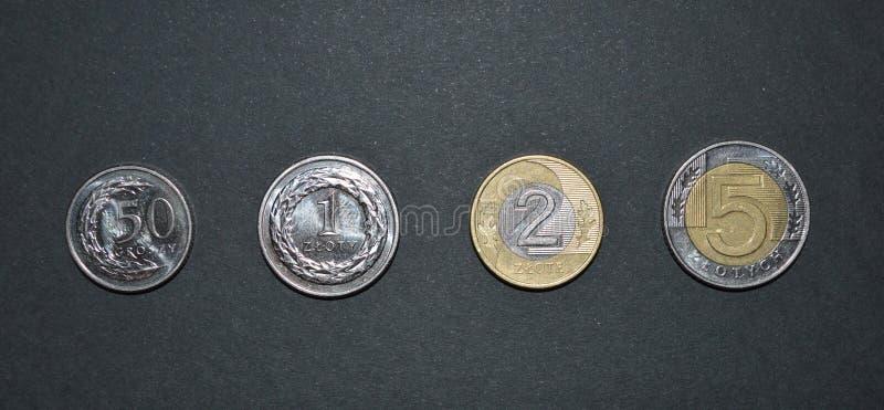 Złoty monety połysku pieniądze pln waluta fotografia royalty free
