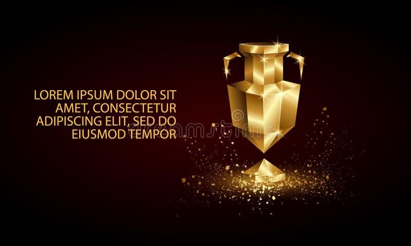 Złoty Niski Poli- Euro filiżanka sztandar ilustracja wektor