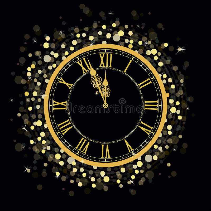 Złoty nowego roku zegar royalty ilustracja