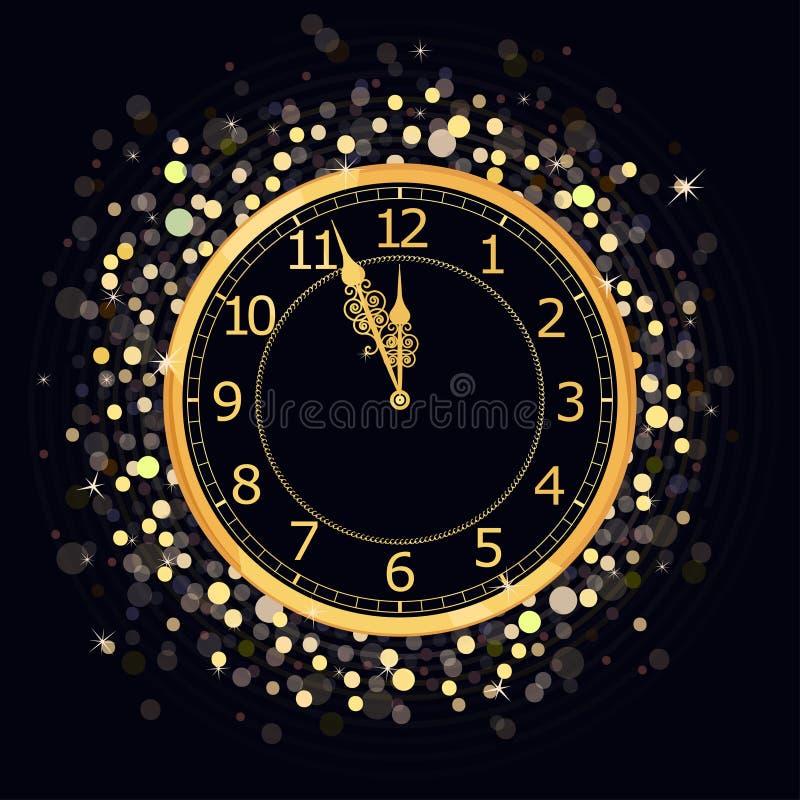 Złoty nowego roku zegar ilustracja wektor
