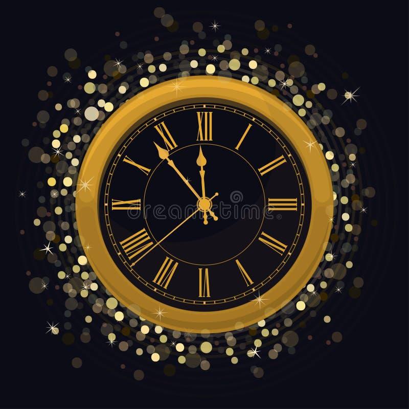 Złoty nowego roku zegar na Magicznym Rozjarzonym tle ilustracja wektor