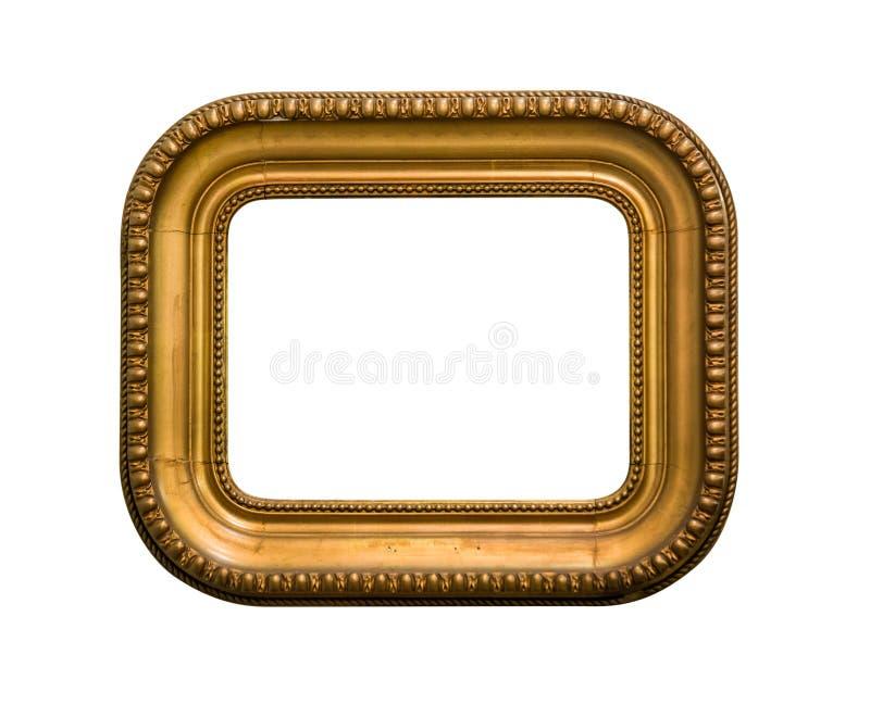 Złoty obrazek ramy prostokąt z round kątami odizolowywającymi na białym tle zdjęcia royalty free