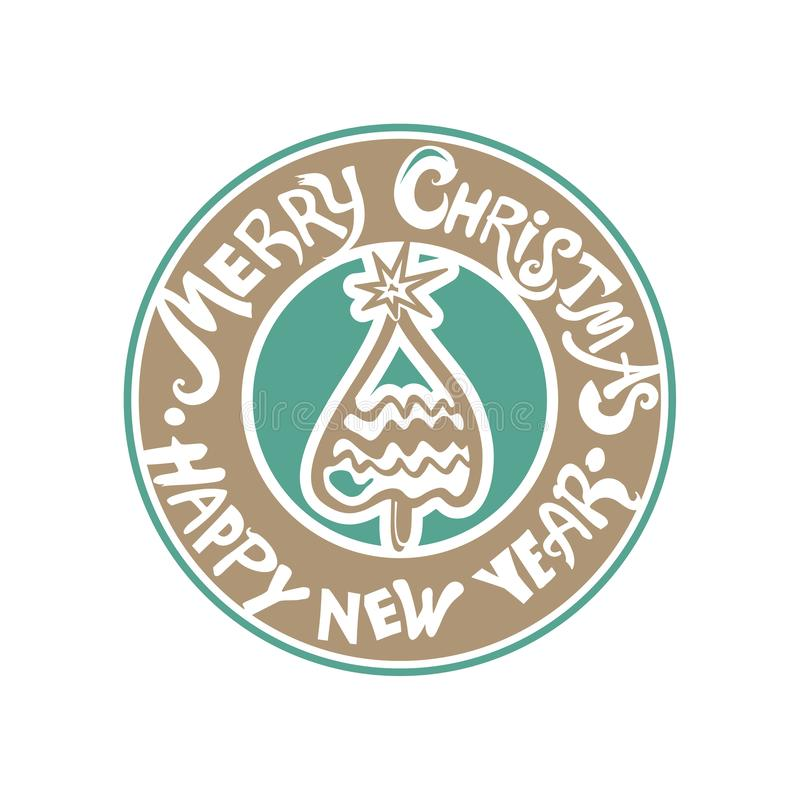 Złoty ocher i niemy zielony ręcznie pisany szablon dla nowego roku projekta royalty ilustracja