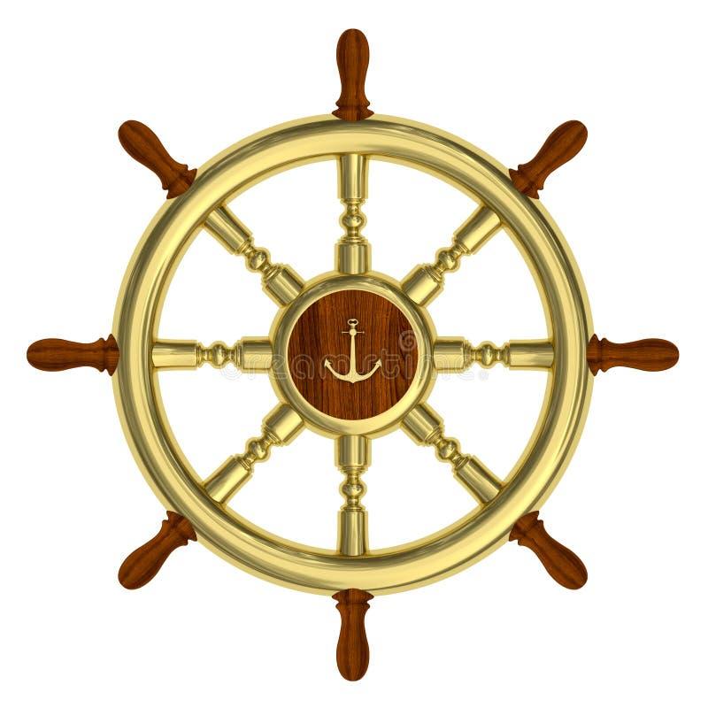 złoty odosobniony nautyczny koło zdjęcie stock