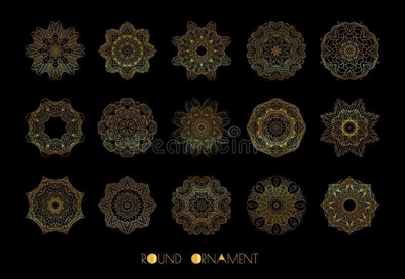 złoty okręgu ornament Wektorowy ustawiający roczników ornamenty ilustracji