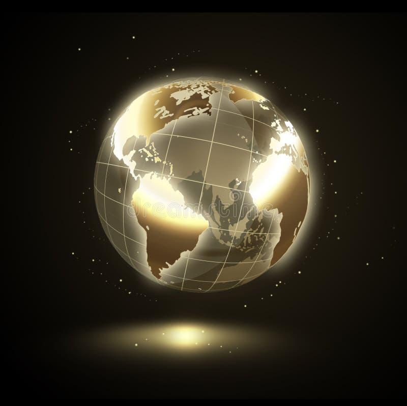 Złoty olśniewający świat royalty ilustracja