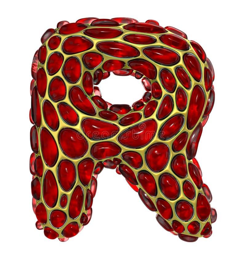 Złoty olśniewający kruszcowy 3D z czerwonego szklanego symbolu kapitałowym listem R - uppercase odizolowywający na bielu ilustracji