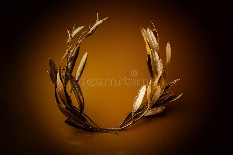 Złoty Oliwny wianek fotografia stock