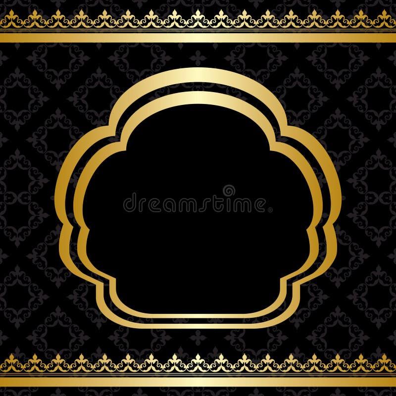 Złoty ornament na czarnym tle z ramą royalty ilustracja