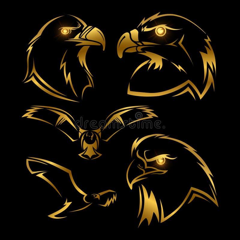 Złoty orzeł, jastrząb wektorowe maskotki ustawiać ilustracja wektor